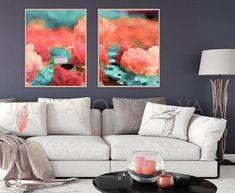 Set of 2 Printable Wall Art Coral and Mint Decor Abstract Mint Decor, Oversized Canvas Art, Mint Walls, Coastal Wall Art, Contemporary Abstract Art, Hanging Art, Canvas Art Prints, Painting Canvas, Large Wall Art