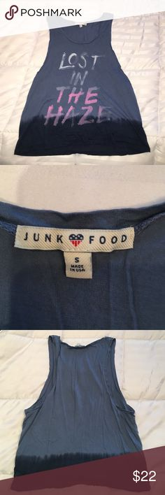 """Junk food tank top Blue and navy ombré tank top with logo: """"LOST IN THE HAZE"""" in white and pink writing. Gently worn. In amazing condition Junk Food Clothing Tops Tank Tops"""