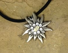 Edelweiss Necklace Pendant handcrafted with Swarovski Crystals