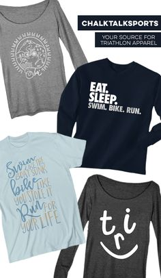 So many different triathlon tee options for training sessions, long runs, or simply relaxing