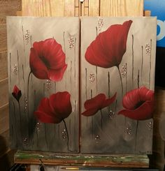 """In memories remembered"" poppies painted in acrylics on canvas"