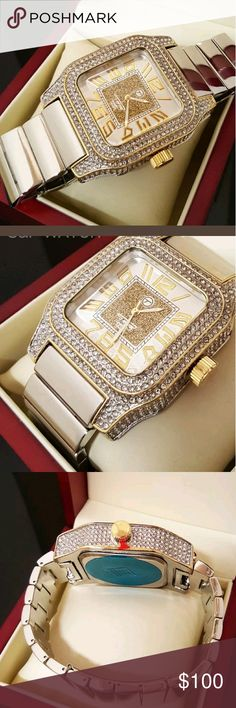 MEN'S TWO TONE WATCH Mens Rappers White Gold Full Iced Out Bling Hip Hop Lab Simulated Diamonds Watch   NEW ARRIVAL  HIP HOP RAPPER CELEBRITY STYLE  Features:  Brand : Techno Pave  100% brand new  Case size : 46mm x 45mm  Case back : Stainless Steel  Full of Lab Simulated Diamonds on the Case   Band length : 9 Inches  Movement: Quartz Japan  Battery included.  Lock: Fold Over (Wallet Clasp)  Gender: Men's  Removable Links (Adjustable)  Luxury style Accessories Jewelry