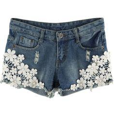 Blue Lace Rivet Pant - Sheinside.com