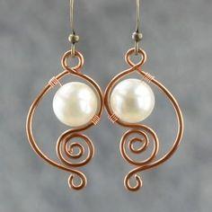 White pearl earrings female brass handmade earring fashion unique diy copper wire handmade jewelry