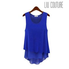 Candy Chiffon Tank Blue - Liu Couture