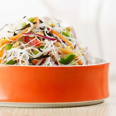 Rice Noodle and Edamame Salad from Delish.com #protein #vegetables #myplate