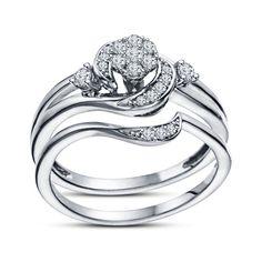 White Gold GP 925 Silver Round Cut Sim Diamond Cluster Wedding Bridal Ring Set