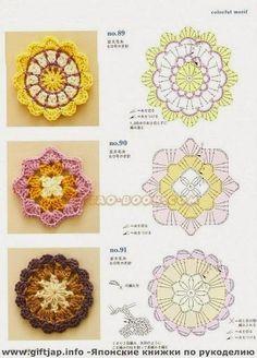 Flores tejidas con ganchillo estilo crochet japonés - con esquema | Crochet y dos agujas
