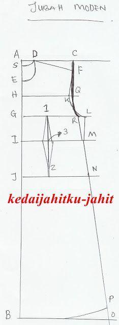 Pola Jubah moden/ maxi dress