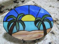 6e0e0eb4fee25 Tropical Scene Stained Glass Sun Catcher ~ Palm Trees Stained Glass ~ Home  Decor ~ Sun and Palm Trees Sun Catcher ~ Beachy Sun Catcher