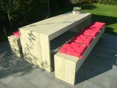 Grote eettafel/picknickset van steigerhout/steigerplanken