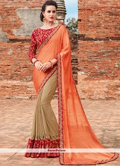 Women s Clothing - Ethnic Wear Orange & Beige Chiffon Saree - 21544 - Products Details : Style : Party Wear Saree, Disigner Saree, Crepe Saree Size : Length Of Saree :&nbs Formal Saree, Casual Saree, Crepe Saree, Chiffon Saree, Bollywood Party, Indian Bollywood, Fancy Sarees, Party Wear Sarees, New Indian Dresses