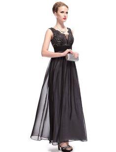 Sleeveless long evening dress Chiffon&Satin,center back zipper,dry clean