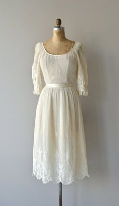 Parchment Lace dress vintage 1970s dress filet by DearGolden