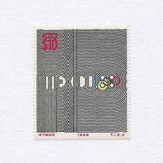 Mexico 1968 Olympics Stamp ($10). Mexico, 1968. Design: Lance Wyman.