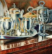 "Tea with Marguerite.  My Grandmother's Tea Service.  Marguerite was an antique dealer, and this was her tea service.  This watercolor painting evokes memories of a more formal time.  My ""life interlacings"" are visible running throughout this piece."