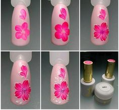 Heat Up Your Life with Some Stunning Summer Nail Art Rose Nail Art, Rose Nails, Flower Nail Art, Nail Art Diy, Diy Nails, Nail Art Designs, Flower Nail Designs, Nail Polish Designs, Nails Design