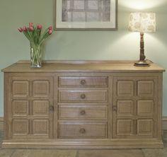 "HANDMADE SIDEBOARDS | BF307 English Oak Sideboard 5' L x 18"" D x 32"" H Oak Sideboard, Furniture Showroom, Boards, English, Cabinet, Storage, Handmade, Ideas, Home Decor"