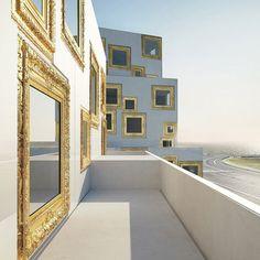 Housing Project in Helsingborg, Sweden by Wilhelmson Arkitekter has windows which look like gilded picture frames.