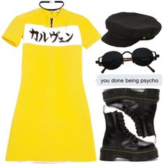 Untitled #573 by chandele on Polyvore featuring moda, Dr. Martens, Yves Saint Laurent and Brixton