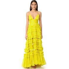 Maria Lucia Hohan Dalila Sleeveless Maxi Dress ($3,295) ❤ liked on Polyvore featuring dresses, flounce dress, yellow sleeveless dress, yellow ruffle dress, frilly dresses and ruffle dress