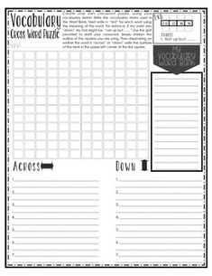This is a great activity to spice up practicing and learning vocabulary terms! My students LOVE creating their own cross word puzzle, and trying to stump their friends. Best part is they don't realize what wonderful practice this activity is. This printable is so fun and works great when used in partnerships, as a fast finisher, in rotations or centers, as a review, or as a whole class activity.