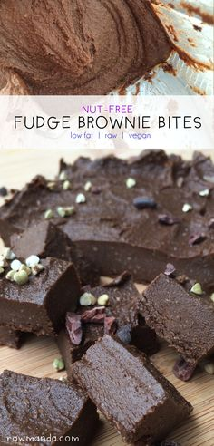 Nut-Free Fudge Brownie Bites {Raw, Vegan, Low-Fat} These fudge brownie bites are so easy to make and you only need 4 ingredients!