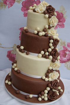 Four Tier Chocolate Wedding Cake - would prefer all dark choc tiers
