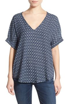 Lush Cuff Sleeve Woven Tee available at #Nordstrom