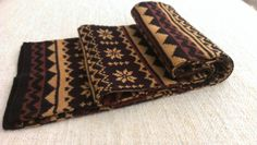 Vintage Eaton Reversible Brown Snowflakes Scarf by ENGARLAND on Etsy