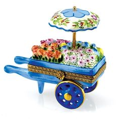 Blue Flower Cart with Umbrella Limoges Box