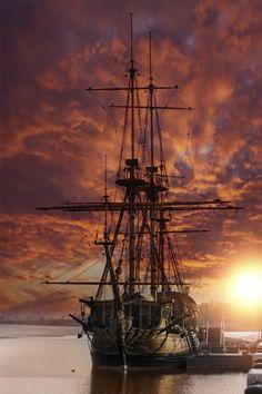 Goto Predestinatsia by Nyroa #ship #sailboat #harbor #sunset #Russia