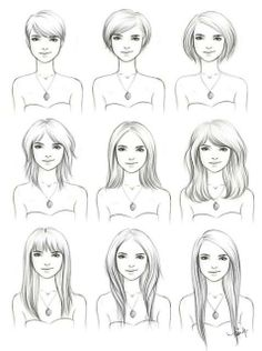 Different hairstyles on a slightly Square to Oval face shape. need to remember this for my net hair cut!!!!