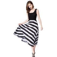 Striped Sleeveless Scoop Neck Floor-Length Women's Dress (135 HRK) via Polyvore featuring dresses, scoop neck sleeveless dress, white and black dress, scoop neck dress, striped sleeveless dress i black white striped dress