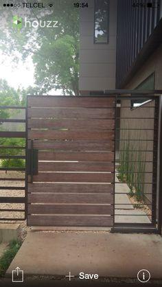 Cool Wooden Gates Design Ideas for Exterior Design: Cool Modern Exterior Landscape Design Ideas With Cool Modern Wooden Gates Design Ideas And Lovely Backyard Design Ideas Also Building Wooden Fence Gate Fence Landscaping, Modern Landscaping, Modern Exterior, Exterior Design, Patio, Backyard, Wooden Fence Gate, Pallet Gate, Wooden Doors