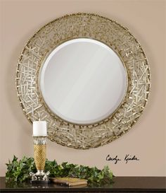 "Uttermost Alita Champagne Woven Metal Mirror 32"" RD- LIKE"