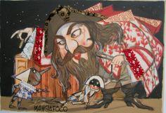 Paolo Fresu - Il Mangiafuoco Serigrafia su carta più interventi di collage con pizzi e tessuti pregiati