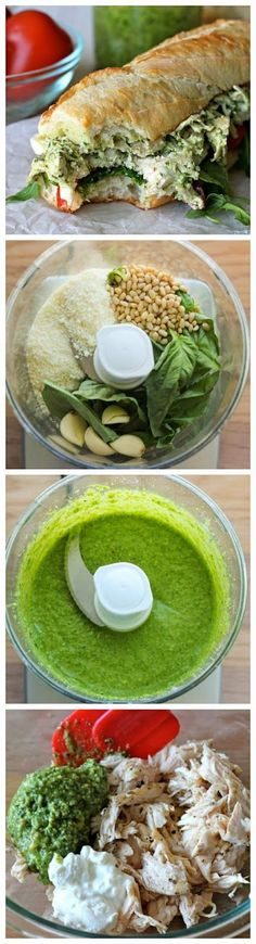 Chicken Pesto Sandwich - Lightened up with Greek yogurt, this hearty sandwich is one of the quickest, most tastiest meals you'll ever have! Pesto chicken Eat on a bed of spinach instead of bread. I Love Food, Good Food, Yummy Food, Yummy Lunch, New Recipes, Cooking Recipes, Healthy Recipes, Tasty Meals, Recipies