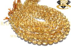 Citrine Smooth Oval (Quality B+) Shape: Oval Smooth Length: 36 cm Weight Approx: 15 to 17 Grms. Size Approx: 6x8 to 7.5x10 mm Price $4.20 Each Strand
