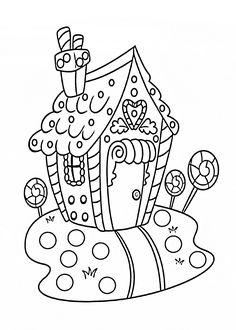 Christmas sweet house coloring pages for kids, printable free