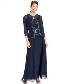 J Kara Embellished Popover Chiffon Gown and Jacket | macys.com