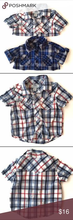 🚀 Old Navy Button Up Shirts 🚀 Old Navy Button Up short sleeve shirts. 1. Light blue, dark blue, white and red plaid with snap buttons in VGUC, with no notable flaws (just needs a light iron) 2. Dark and medium blue plaid button up with traditional buttons also in VGUC with no notable flaws (iron too 😉) 🚀From my nephews closet, smoke and pet free home🚀❗️must be bundled❗️ Old Navy Shirts & Tops Button Down Shirts
