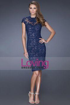 2015 Evening Dresses High Neck Lace Sheath/Column With Applique