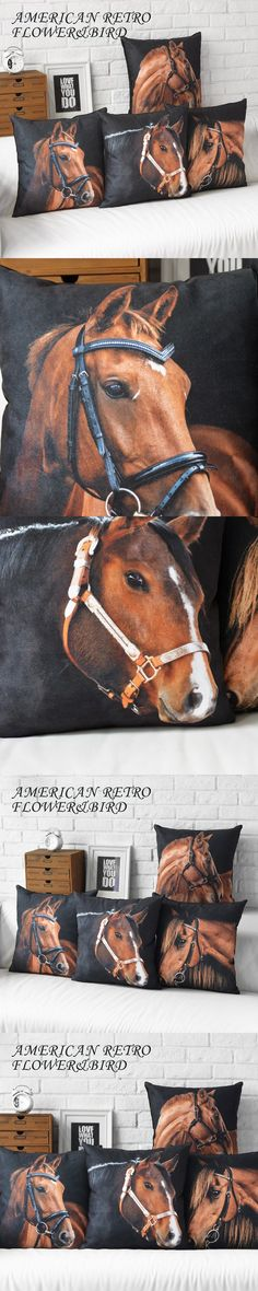 Wholesale Horse modern Cushions Home Decor minimalist black creative Decorative Pillow European American style Cushion Covers