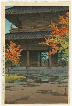 HASUI Japanese Woodblock Print Autumn Temple 1951   eBay