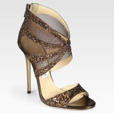 Leila Glitter-coated Metallic Leather and Mesh Sandals