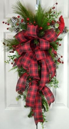 Old Fashioned Christmas Teardrop Swag - Red Plaid Traditional Christmas Wreath - Christmas Front Door Decorations by lori