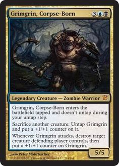 Magic: the Gathering - Grimgrin, Corpse-Born - Innistrad by Wizards of the Coast. $1.24. From the Innistrad set.. A single individual card from the Magic: the Gathering (MTG) trading and collectible card game (TCG/CCG).. This is of Mythic Rare rarity.. Magic: the Gathering is a collectible card game created by Richard Garfield. In Magic, you play the role of a planeswalker who fights other planeswalkers for glory, knowledge, and conquest. Your deck of cards represents all the w...