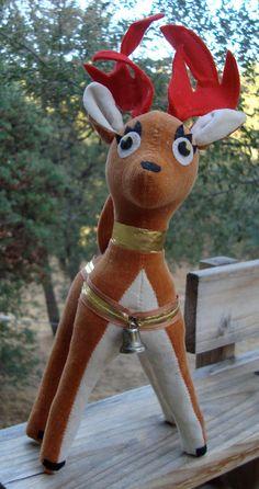 Vintage velvet reindeer, R. Dakin & Co., Dream Pets, Made in Japan, 1960's era, Christmas decor. $18.50, via Etsy.