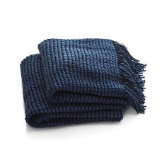 Landyn Blue Chunky Knit Throw | Crate and Barrel